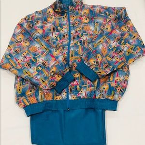 Casual Isle Blue & Colorful Silk Track Suit